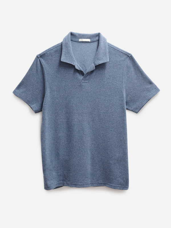 NAVY REVERSE TERRY POLO ONS MENS KNITS