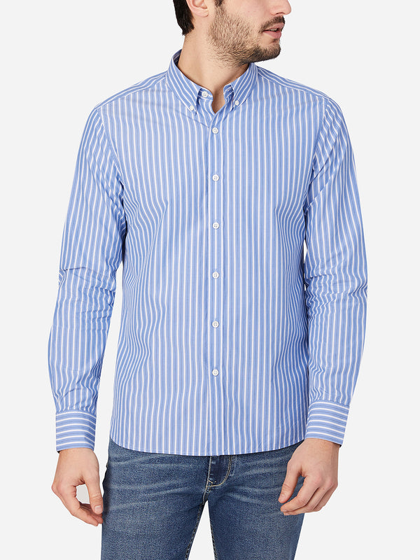 BLUE STRIPE button down shirt for men fulton poplin shirt ons clothing