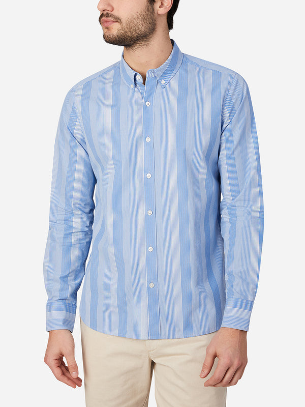 LIGHT BLUE STRIPE fulton button down shirt by ons clothing