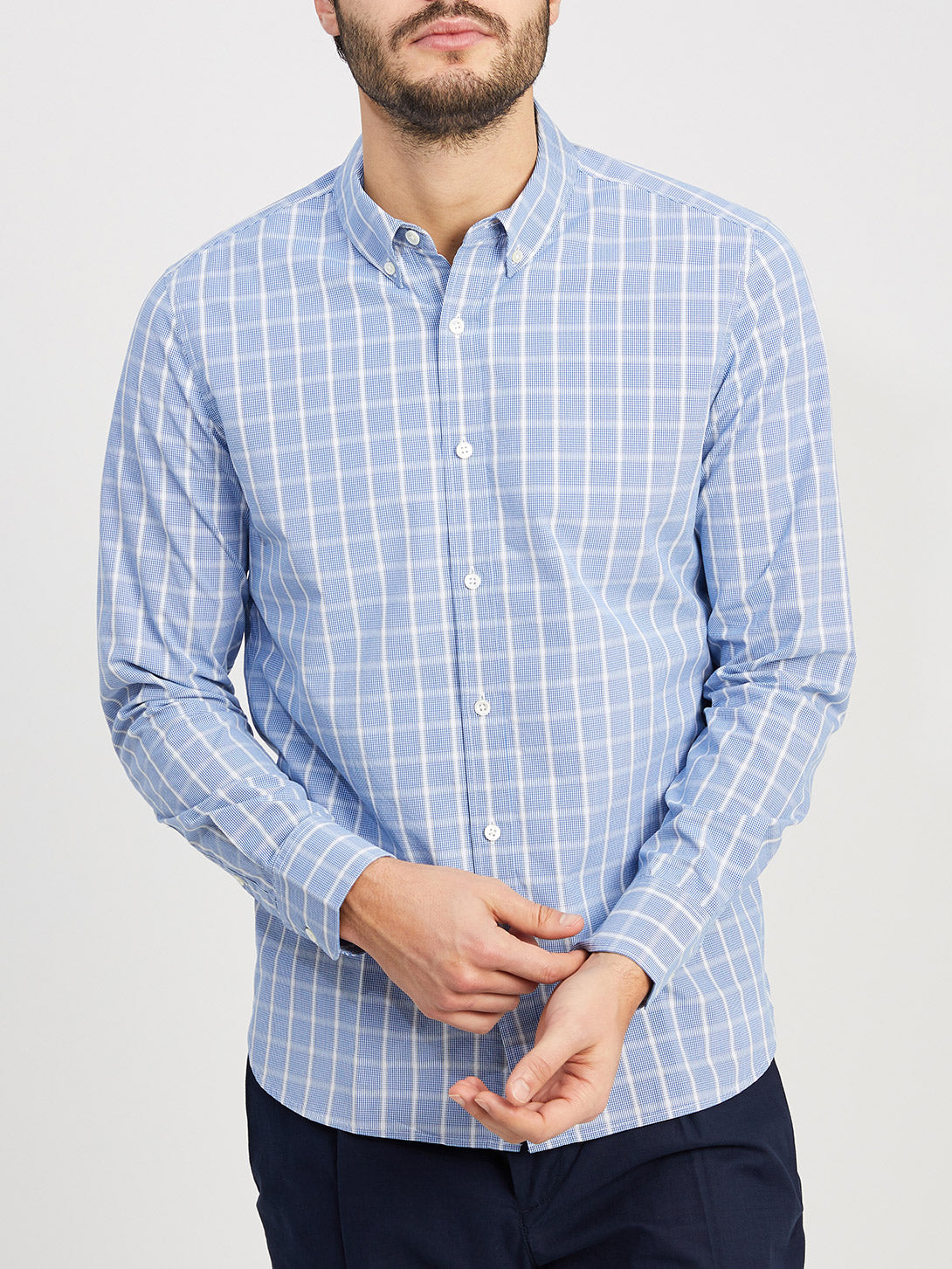 BLUE CHECK button down shirt for men fulton dobby check shirt ons clothing
