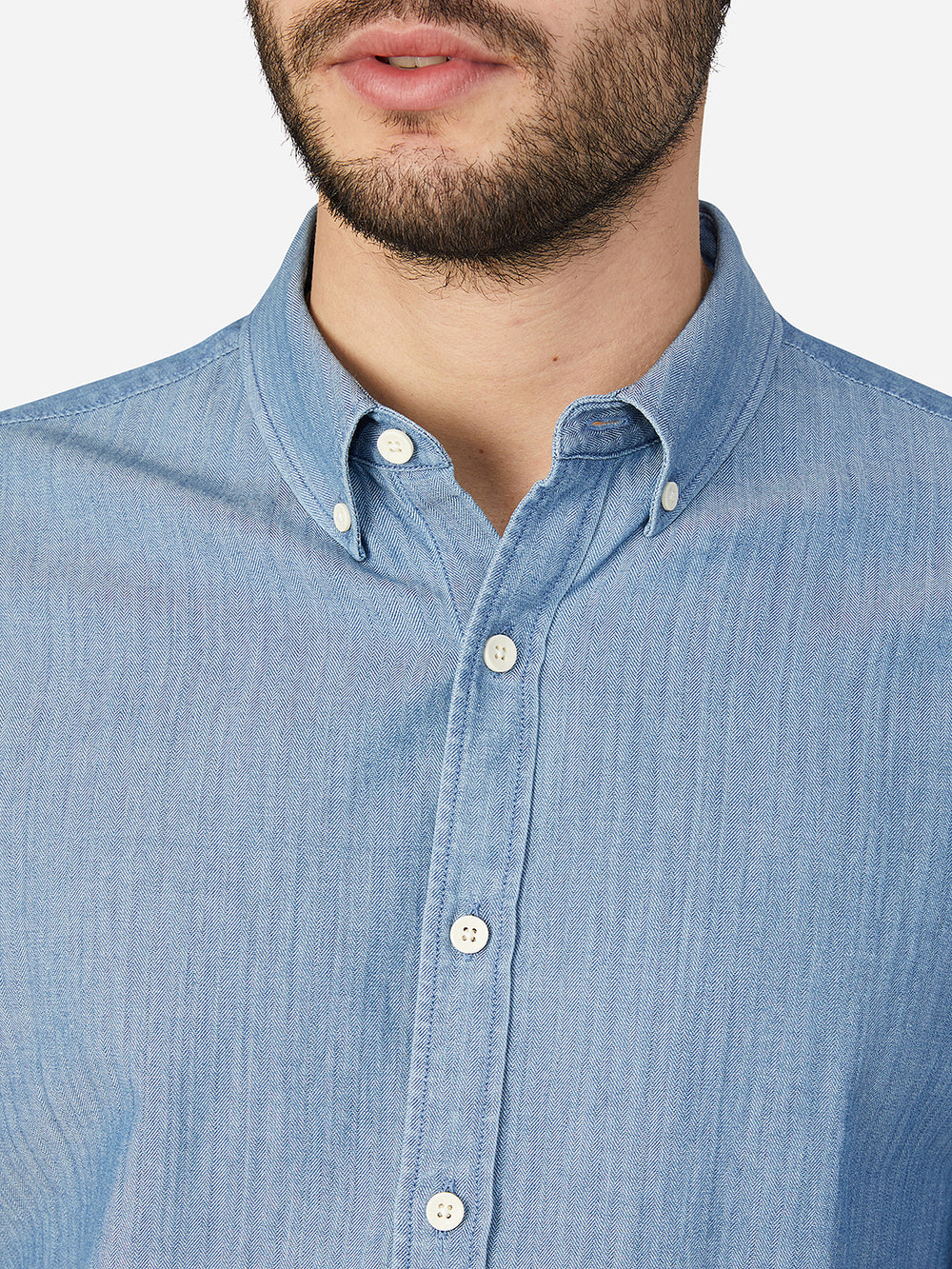 LIGHT INDIGO BLUE HERRINGBONE FULTON SHIRT
