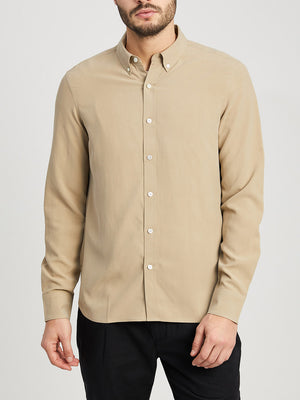 KHAKI button down shirt for men fulton silk shirt ons clothing