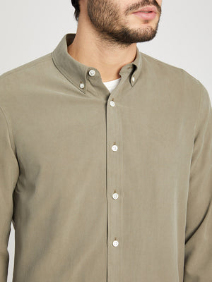 OLIVE GREEN button down shirt for men fulton silk shirt ons clothing