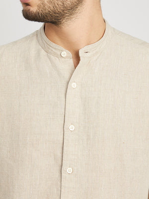 BEIGE STRIPE button down shirt for men aleks linen shirt ons clothing