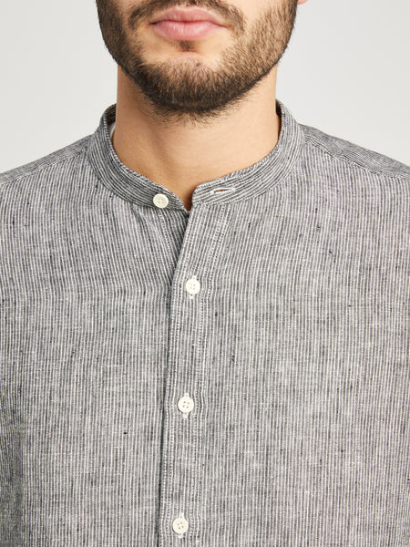 BLACK STRIPE button down shirt for men aleks linen shirt ons clothing