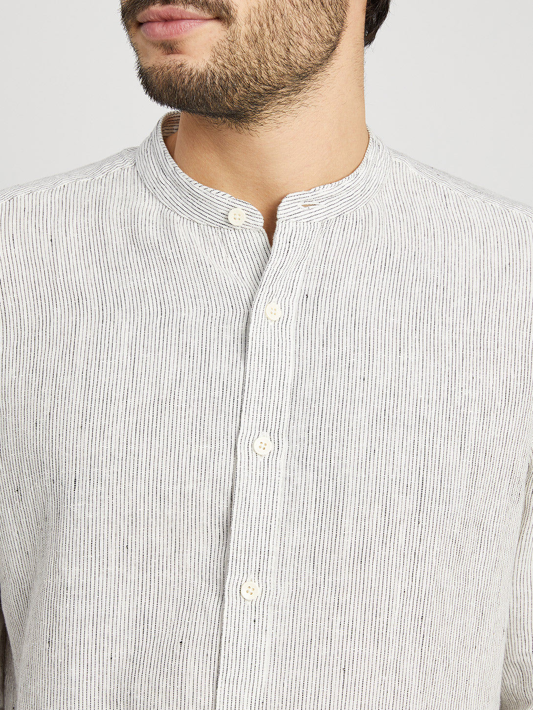 WHITE STRIPE button down shirt for men aleks linen shirt ons clothing