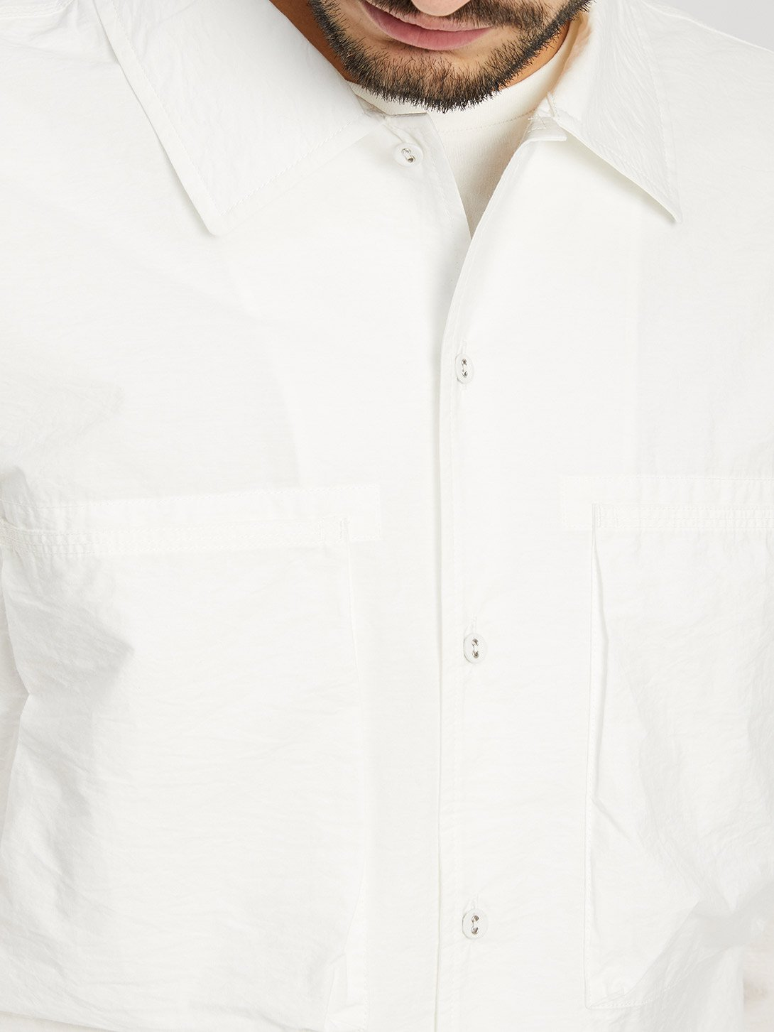 WHITE button down shirt for men corsa shirt jacket ons clothing