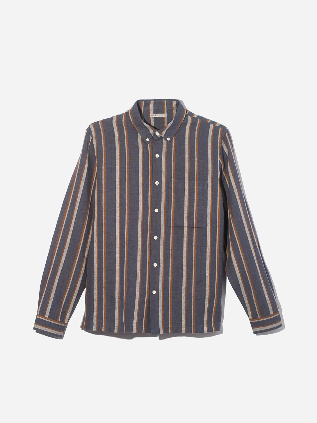 BLUE STRIPE button down shirt for men vance stripe linen cotton shirt ons clothing