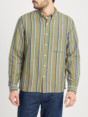 GREEN STRIPE button down shirt for men vance stripe linen cotton shirt ons clothing