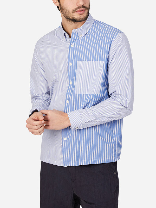 BLUE STRIPE COLOR BLOCK button down stripe mens shirt ons clothing