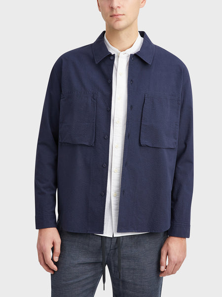 ONS Clothing Men's Corsa Seersucker Shirt Jacket Navy