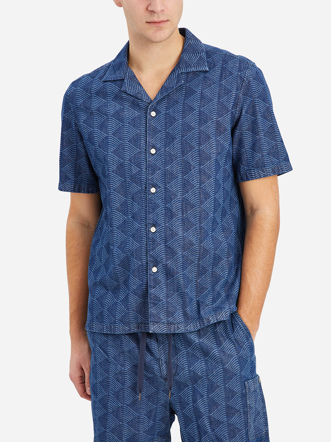 Indigo Print Rockaway Waves Shirt Men's cotton shirts ONS Clothing