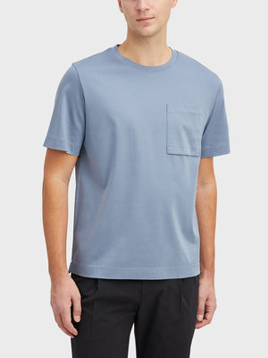 Quarry Blue Baseile Pocket Tee Men's cotton t-shirts ONS Clothing