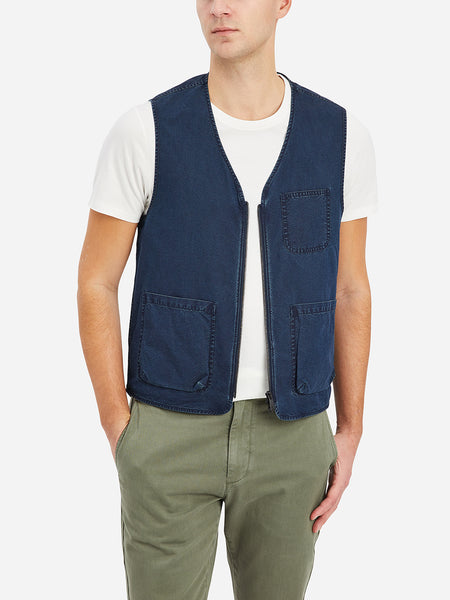 Indigo Harriman Utility Vest Men's cotton vests ONS Clothing