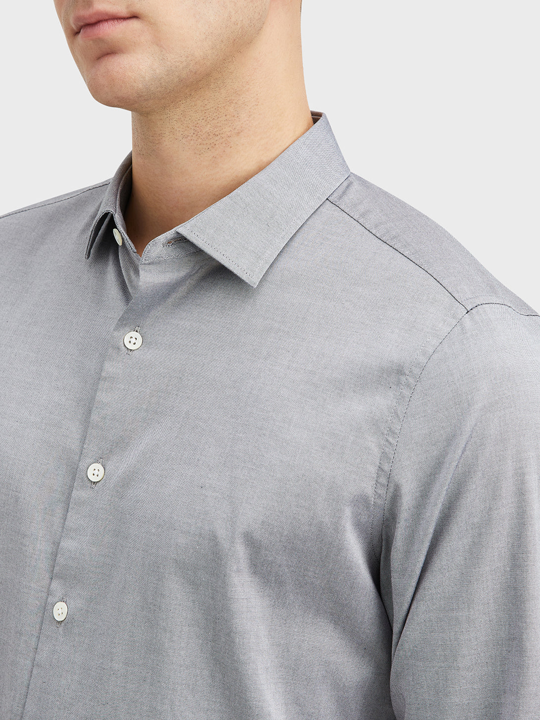 Gray Adrian Pinpoint Oxford Shirt Men's cotton shirts ONS Clothing