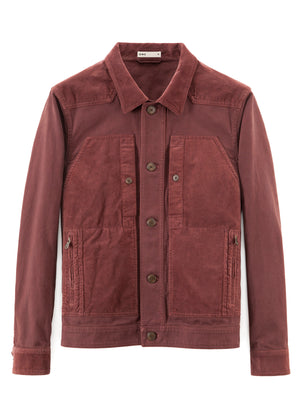 BURGUNDY MIXED FABRIC JACKET