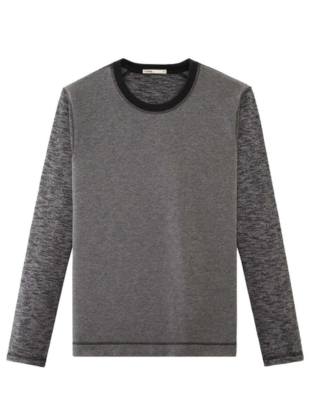 CHARCOAL MARLED KNIT BLOCKING CREW NECK
