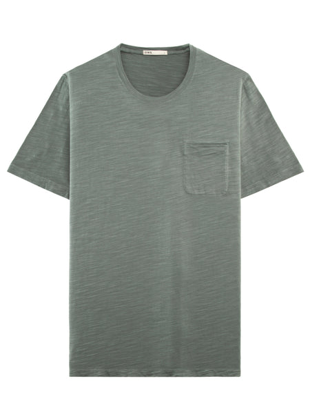 AQUA GREEN SLUB COTTON POCKET CREW NECK