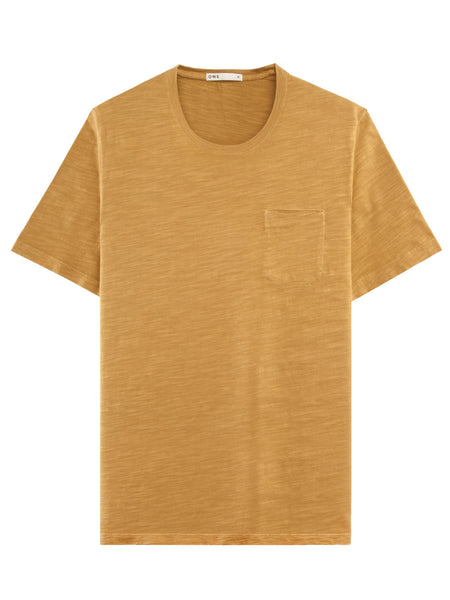 MUD YELLOW SLUB COTTON POCKET CREW NECK