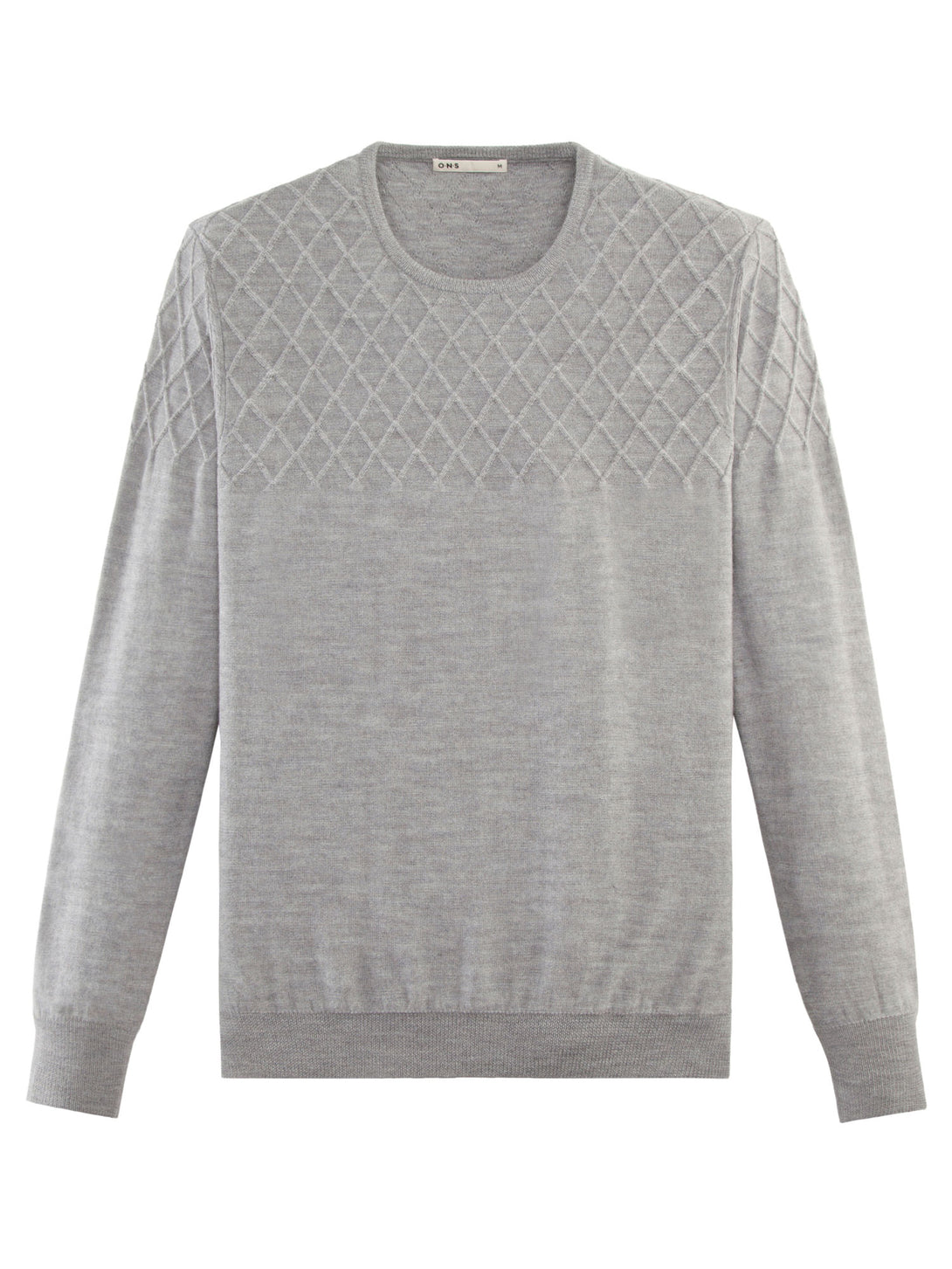 GREY DIAMOND TEXTURED CREW NECK