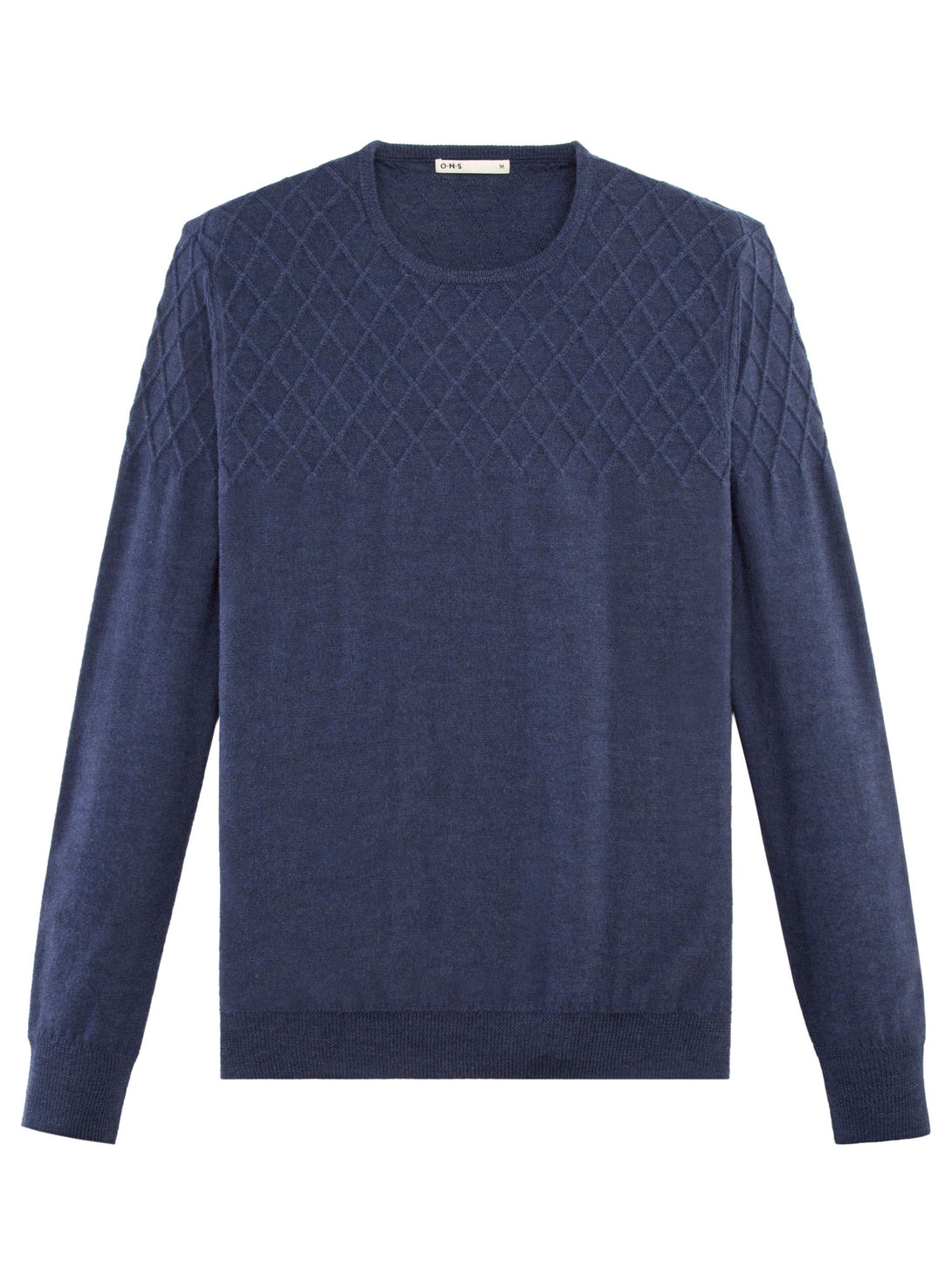 NAVY DIAMOND TEXTURED CREW NECK