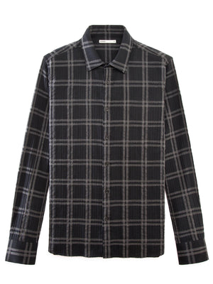 BLACK CHECK CRINKLE SHIRT