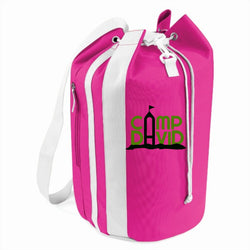 A fuschia pink bag with the 'camp david' logo printed