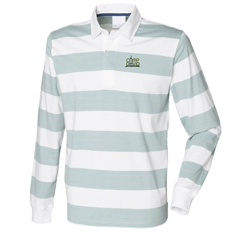 Mens Casual Striped Long Sleeve Rugby Shirt
