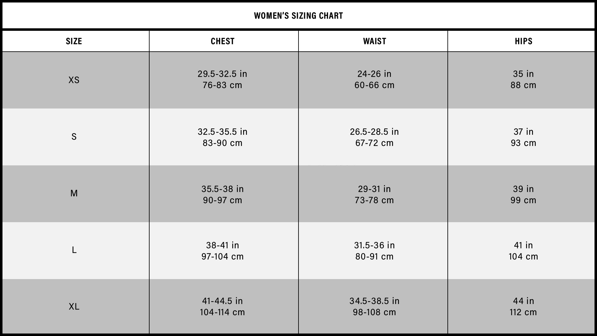 PAINKLLR Womens Sizing Chart Measurements