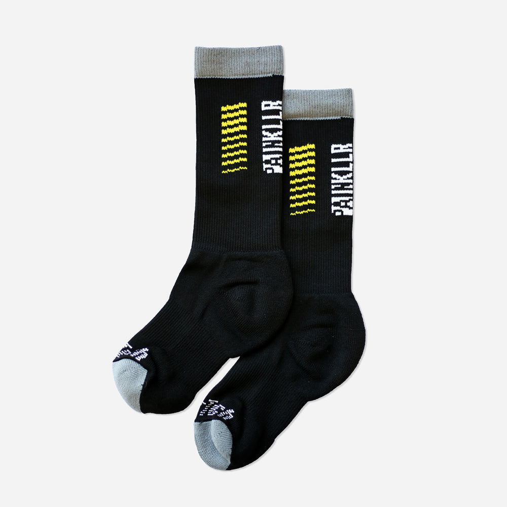 PAINKLLR PAINKILLER unisex crew length socks black and yellow