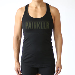 Treads Fitted Tank - Black W/ Olive Print