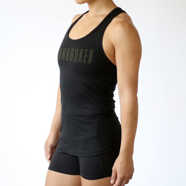 Unbroken Fitted Tank - Black W/ Olive Print