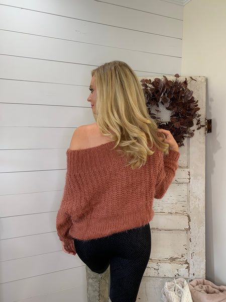 chenille off the shoulder waffle sweater