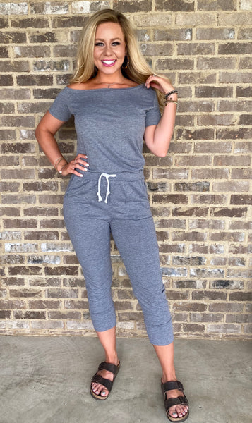 showy shoulder jogger jumpsuit [charcoal grey]