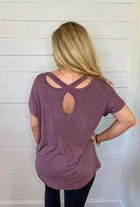 x back washed out tunic top