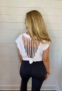 laser cut back athleisure top