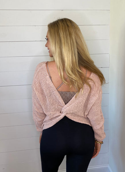 twisted back sweater top