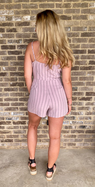 ruffled + striped cami romper