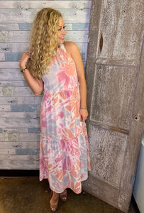 tropic dreams halter midi/maxi dress