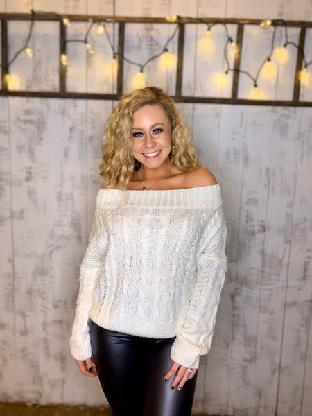 snowy off shoulder knit sweater
