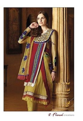 Indian Pakistani Designer Salwar Kameez Original Floral Creations 7199A