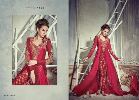 Indian Pakistani Designer Anarkali Salwar Kameez Suit Party Dress Jinaam Rossa 4006