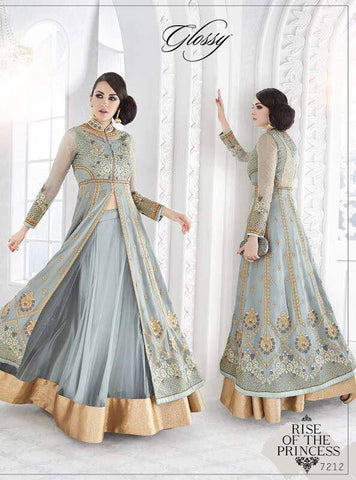 Indian Pakistani Designer Salwar Kameez Original Glossy Sapphire 7212 MM380-4