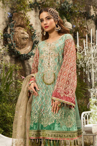 Maria B Unstitched MBROIDERED Aquamarine & Coral (BD-1608)