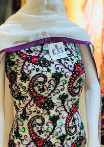 White Plaachi suit in a paisley design with white gems SP253-1 Midtex