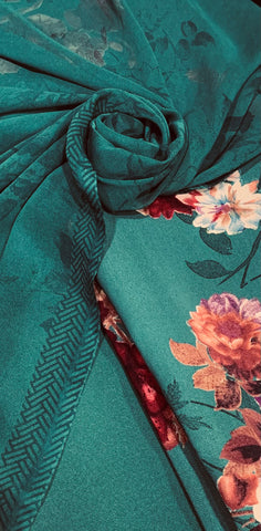 Emerald Green Floral Rose warm Vaishali fabric set with chiffon floral dupputa SP373-4 midtex