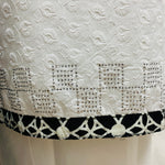 White chikkan linen with black Mal Mal dupputa at Midtex Collection SP436