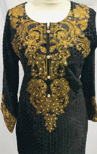 Small size Ready made Plaachi suit in Black and Gold with thread neck embroidery SP307-1 midtex