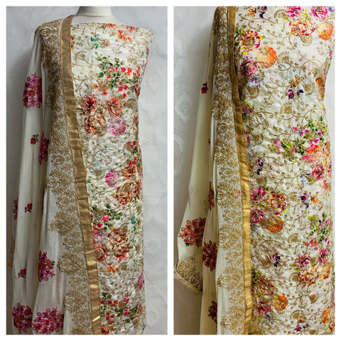 Cream raw silk with gold embroidery and floral print at Midtex Collection SP452
