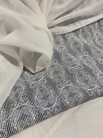 Grey & White linen fabric set with chiffon dupputa SP366-1 midtex